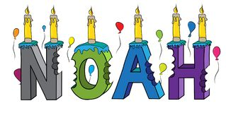 Noah name bitten colorful 3d lettering birthday cake with candles and balloons.  Stock Photography