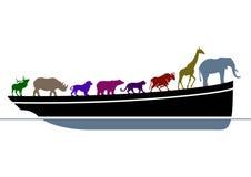 Noah's Ark. Wildlife and boat Stock Photo