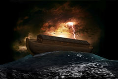 Noah's Ark. Riding on a swell after the Great Flood Royalty Free Stock Image
