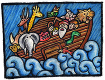 Noah's Ark. A  Noah's Ark Illustration: Some Noah's Animals are waiting for the end of the Rain Stock Photography