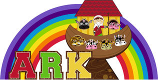 Noah`s Ark and the Animals Royalty Free Stock Image