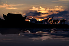 Noah's ark and animals, sunset in background Stock Photos