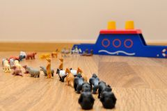 Noah's Ark with animals from toys Royalty Free Stock Photo