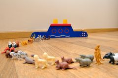 Noah's Ark with animals from toys Royalty Free Stock Photos