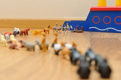 Noah's Ark with animals from toys Royalty Free Stock Images