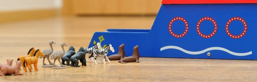 Noah's Ark with animals from toys Stock Photos