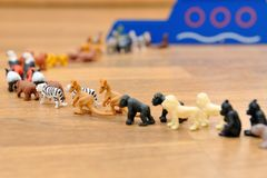 Noah's Ark with animals from toys Stock Images