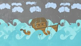 Noah`s Ark floating in the middle of the sea