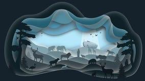 Noah`s Ark. The Gathering. Paper art. royalty free illustration