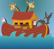 Noah's ark. Ark with giraffes, zebras, lions, and toucans Stock Photo