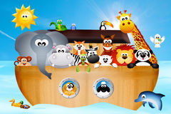 Noah's ark. Illustration of animals on Noah's ark Stock Photo
