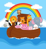 Noahs Ark. Illustration of Noahs Ark with some couples of animals Royalty Free Stock Photography