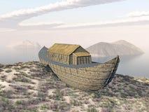 Noah's Ark on Mount Ararat. Computer generated 3D illustration with Noah's Ark on Mount Ararat Royalty Free Stock Images