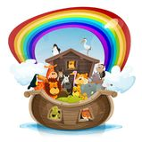 Noah`s Ark With Rainbow. Illustration of a cute cartoon group of wild animals inside biblical noah`s ark, with lion, elephant, giraffe, gazelle, gorilla monkey Royalty Free Stock Photo