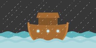 Noah`s ark in raining. Vector illustration flat design Stock Image