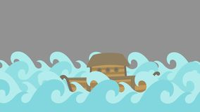 Noah`s Ark Sailing in the Sea on a Gray Sky stock video