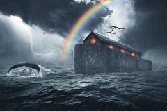 Noah`s Ark Bible Story. Noah`s ark story, masterpiece of art created using four photos, the ark was made with custom shapes, color gradients, brushes and custom stock photos