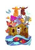 Noah s ark. Watercolor painting. Colorfull watercolor painting of Noah s ark. Children concept. Bible iIllustration Stock Images