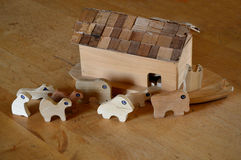 Noah's Ark Wooden Toys Royalty Free Stock Images