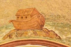 Noah& x27; s-tillflykt - freskomålning på Loreta, Prague Arkivfoto