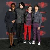 Noah Schnapp, Gaten Matarazzo, Caleb McLaughlin and Finn Wolfhard. At the Netflix`s season 2 premiere of `Stranger Things` held at the Regency Village Theatre Stock Image