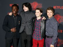 Noah Schnapp, Gaten Matarazzo, Caleb McLaughlin and Finn Wolfhard. At the Netflix`s season 2 premiere of `Stranger Things` held at the Regency Village Theatre Stock Photo
