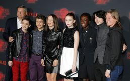 Noah Schnapp, Gaten Matarazzo, Millie Bobby Brown, Sadie Sink, Caleb McLaughlin and Finn Wolfhard. At the Netflix`s season 2 premiere of `Stranger Things` held royalty free stock image