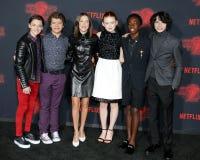 Noah Schnapp, Gaten Matarazzo, Millie Bobby Brown, Sadie Sink, Caleb McLaughlin and Finn Wolfhard. At the Netflix`s season 2 premiere of `Stranger Things` held Stock Images