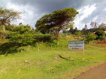 Noah& x27; Straßenseite des s-Arche-Hotels A 500 Meter in Richtung zur Kapchorwa-Stadtostregion in Uganda, Afrika Stockbild