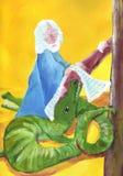 Noah y los cocodrilos ilustración del vector