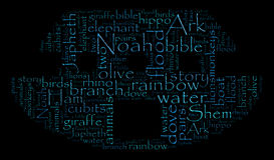 Noahs Arche-Wort-Wolke lizenzfreie abbildung