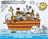 Noahs Ark. Illustration of Noah´s ark full of animals. vector image Royalty Free Stock Photo