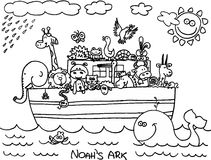 Noahs Ark. Illustration of Noah´s ark full of animals.  image Stock Photography