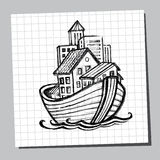 Noahs Ark Line Drawing. Picture for tourism Royalty Free Stock Photo