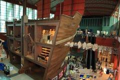 Noahs tillflykt som visas i Singapore det maritima museet Arkivfoton