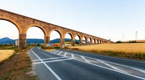 Noain aqueduct near Pamplona. Navarre Royalty Free Stock Image