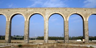 Noain's Roman aqueduct, Navarre, Spain. Royalty Free Stock Photos