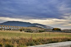 Noain Roman aqueduct near Pamplona, Navarre, Spain. Stock Photos
