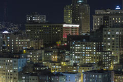 Nob Hill San Francisco Editorial Night View. Editorial night view towards historic Nob Hill in the heart of downtown San Francisco, California Royalty Free Stock Photos