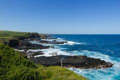 Nobbies in Phillip Island met een schoon en winderig weer en een zeer blauwe overzees stock afbeelding