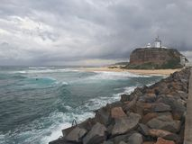 Nobby& x27;s beach and headland Newcastle Australia Royalty Free Stock Photos