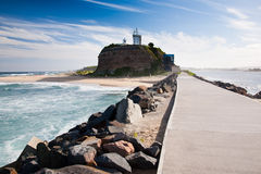 Nobbys Head. Lighthouse from the breakwater, New south Wales Australia royalty free stock images