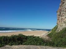 Nobbys udde och strand, Newcastle Australien Arkivfoton