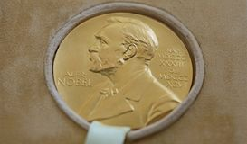The Nobel Prize of George Emil Palade - donated in Bucharest Rom. Bucharest, Romania - May 08, 2018: The Nobel Prize of George Emil Palade is donated by his royalty free stock photo