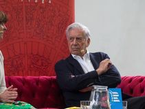 Nobel Prize laureat in literature Mario Vargas Llosa on Book World Prague 2019 royalty free stock image