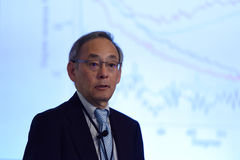 Nobel Prize Laureate in physics Steven Chu. St. Petersburg, Russia - June 22, 2015: Plenary thesis of Nobel Prize Laureate in physics Steven Chu during Saint Stock Photos