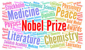 Nobel prize word cloud Stock Photography