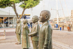 Nobel Square at waterfront in Cape Town with the four statues Stock Photo