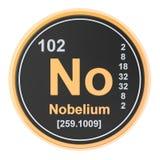 Nobelium No chemical element. 3D rendering. Isolated on white background stock illustration