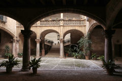 Noble balearic house. Inner gardens or patio in a ancient nobleman house in palma de mallorca old square, in the spanish balearic island of mallorca Royalty Free Stock Photo